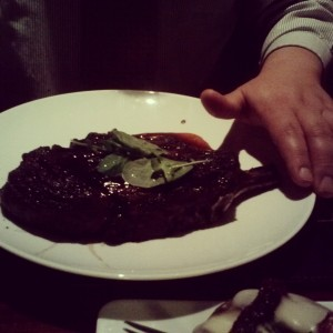 Jordan's 2-hands-sized ribeye at Gordon Ramsey's Steak (Courtesy of someone else's generosity)