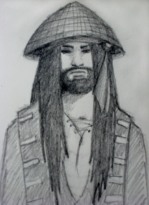 In this doodle, Buccaneer Dan looks less fierce and more petulant. (Note: I did not run this by my brother-in-law to find out if this is really how Buccaneer Dan looks. I wonder if this is Buccaneer Dan's first fan art...?)