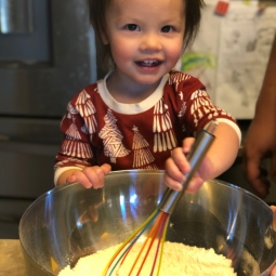 Making pancakes with Daddy.
